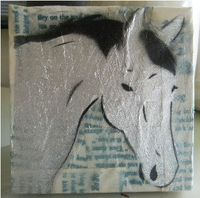 Silver horse painting