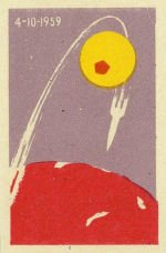 Oct 4 1957 launch of Sputnik 1 Russian matchbox cover